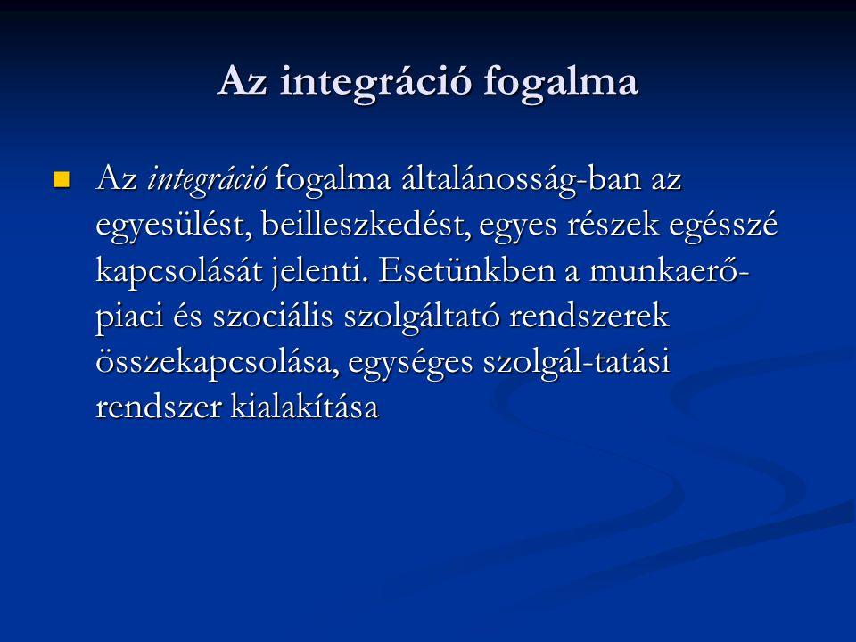 Az integráció fogalma Az integráció fogalma általánosság-ban az egyesülést, beilleszkedést, egyes részek egésszé kapcsolását jelenti. Esetünkben a mun