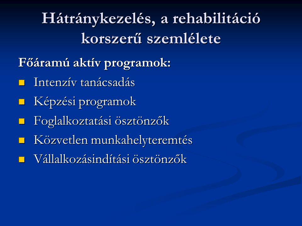 Hátránykezelés, a rehabilitáció korszerű szemlélete Főáramú aktív programok: Intenzív tanácsadás Intenzív tanácsadás Képzési programok Képzési program