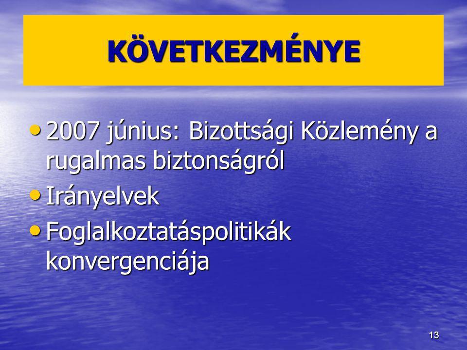 13 KÖVETKEZMÉNYE 2007 június: Bizottsági Közlemény a rugalmas biztonságról 2007 június: Bizottsági Közlemény a rugalmas biztonságról Irányelvek Irányelvek Foglalkoztatáspolitikák konvergenciája Foglalkoztatáspolitikák konvergenciája