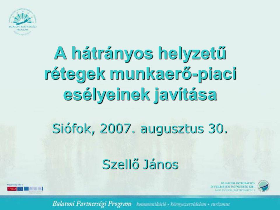 A hátrányos helyzetű rétegek munkaerő-piaci esélyeinek javítása Siófok, 2007.