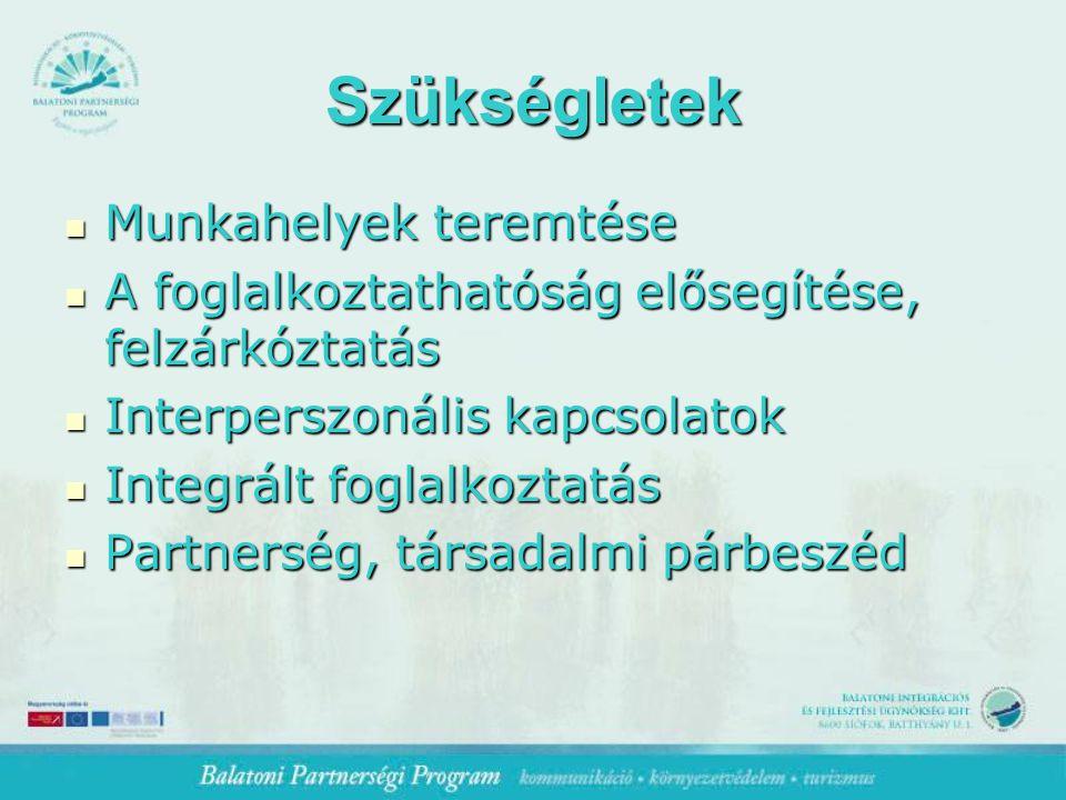 Szükségletek Munkahelyek teremtése Munkahelyek teremtése A foglalkoztathatóság elősegítése, felzárkóztatás A foglalkoztathatóság elősegítése, felzárkóztatás Interperszonális kapcsolatok Interperszonális kapcsolatok Integrált foglalkoztatás Integrált foglalkoztatás Partnerség, társadalmi párbeszéd Partnerség, társadalmi párbeszéd