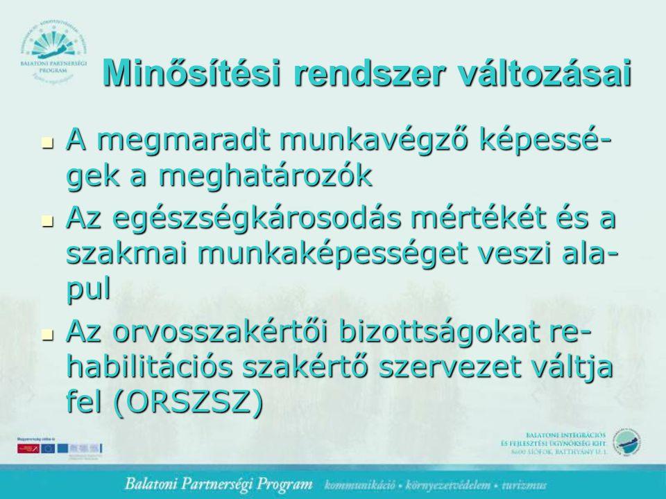 Minősítési rendszer változásai A megmaradt munkavégző képessé- gek a meghatározók A megmaradt munkavégző képessé- gek a meghatározók Az egészségkárosodás mértékét és a szakmai munkaképességet veszi ala- pul Az egészségkárosodás mértékét és a szakmai munkaképességet veszi ala- pul Az orvosszakértői bizottságokat re- habilitációs szakértő szervezet váltja fel (ORSZSZ) Az orvosszakértői bizottságokat re- habilitációs szakértő szervezet váltja fel (ORSZSZ)