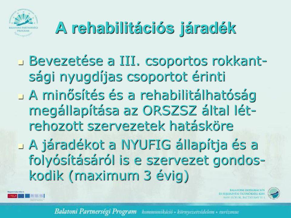 A rehabilitációs járadék Bevezetése a III.