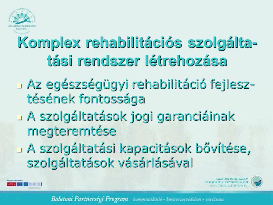 Komplex rehabilitációs szolgálta- tási rendszer létrehozása Az egészségügyi rehabilitáció fejlesz- tésének fontossága Az egészségügyi rehabilitáció fejlesz- tésének fontossága A szolgáltatások jogi garanciáinak megteremtése A szolgáltatások jogi garanciáinak megteremtése A szolgáltatási kapacitások bővítése, szolgáltatások vásárlásával A szolgáltatási kapacitások bővítése, szolgáltatások vásárlásával
