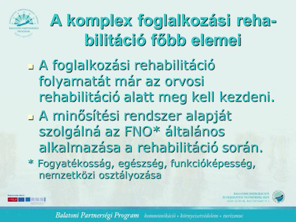 A komplex foglalkozási reha- bilitáció főbb elemei A foglalkozási rehabilitáció folyamatát már az orvosi rehabilitáció alatt meg kell kezdeni.
