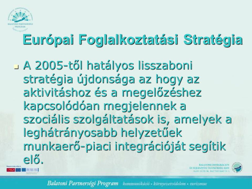 Európai Foglalkoztatási Stratégia A 2005-től hatályos lisszaboni stratégia újdonsága az hogy az aktivitáshoz és a megelőzéshez kapcsolódóan megjelennek a szociális szolgáltatások is, amelyek a leghátrányosabb helyzetűek munkaerő-piaci integrációját segítik elő.