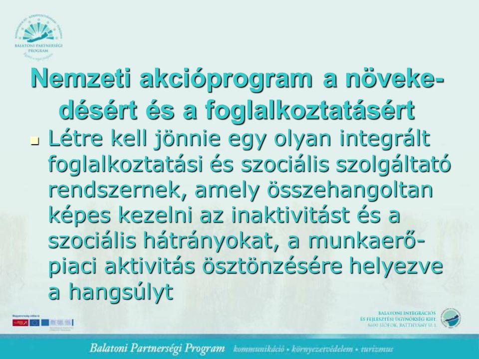 Nemzeti akcióprogram a növeke- désért és a foglalkoztatásért Létre kell jönnie egy olyan integrált foglalkoztatási és szociális szolgáltató rendszernek, amely összehangoltan képes kezelni az inaktivitást és a szociális hátrányokat, a munkaerő- piaci aktivitás ösztönzésére helyezve a hangsúlyt Létre kell jönnie egy olyan integrált foglalkoztatási és szociális szolgáltató rendszernek, amely összehangoltan képes kezelni az inaktivitást és a szociális hátrányokat, a munkaerő- piaci aktivitás ösztönzésére helyezve a hangsúlyt
