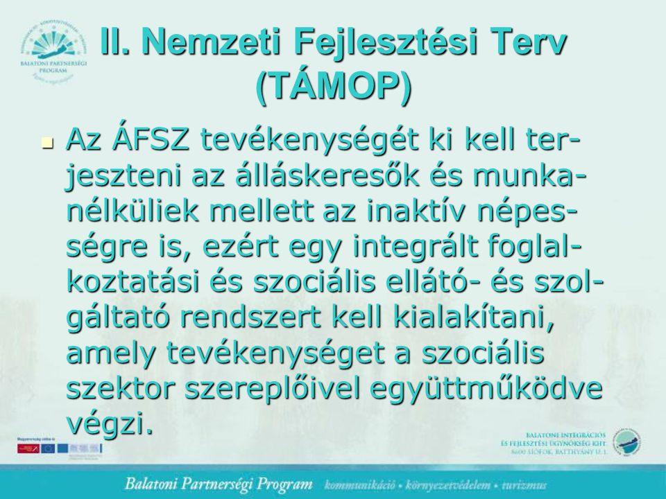 II. Nemzeti Fejlesztési Terv (TÁMOP) Az ÁFSZ tevékenységét ki kell ter- jeszteni az álláskeresők és munka- nélküliek mellett az inaktív népes- ségre i