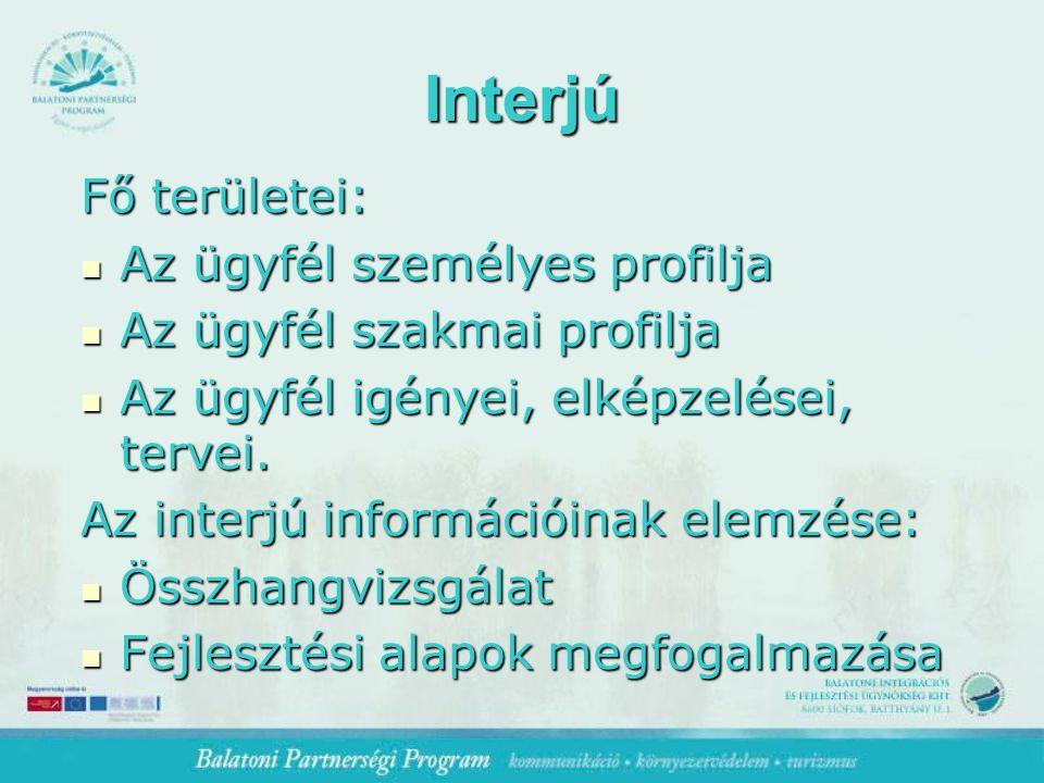 Interjú Fő területei: Az ügyfél személyes profilja Az ügyfél személyes profilja Az ügyfél szakmai profilja Az ügyfél szakmai profilja Az ügyfél igényei, elképzelései, tervei.