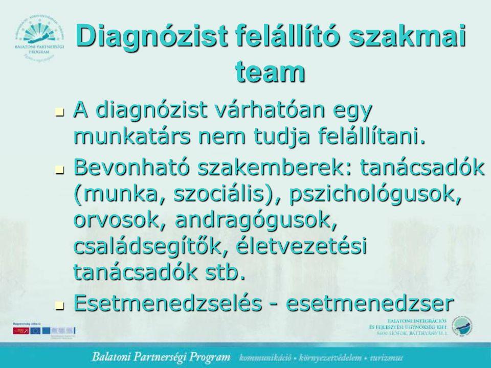 Diagnózist felállító szakmai team A diagnózist várhatóan egy munkatárs nem tudja felállítani.