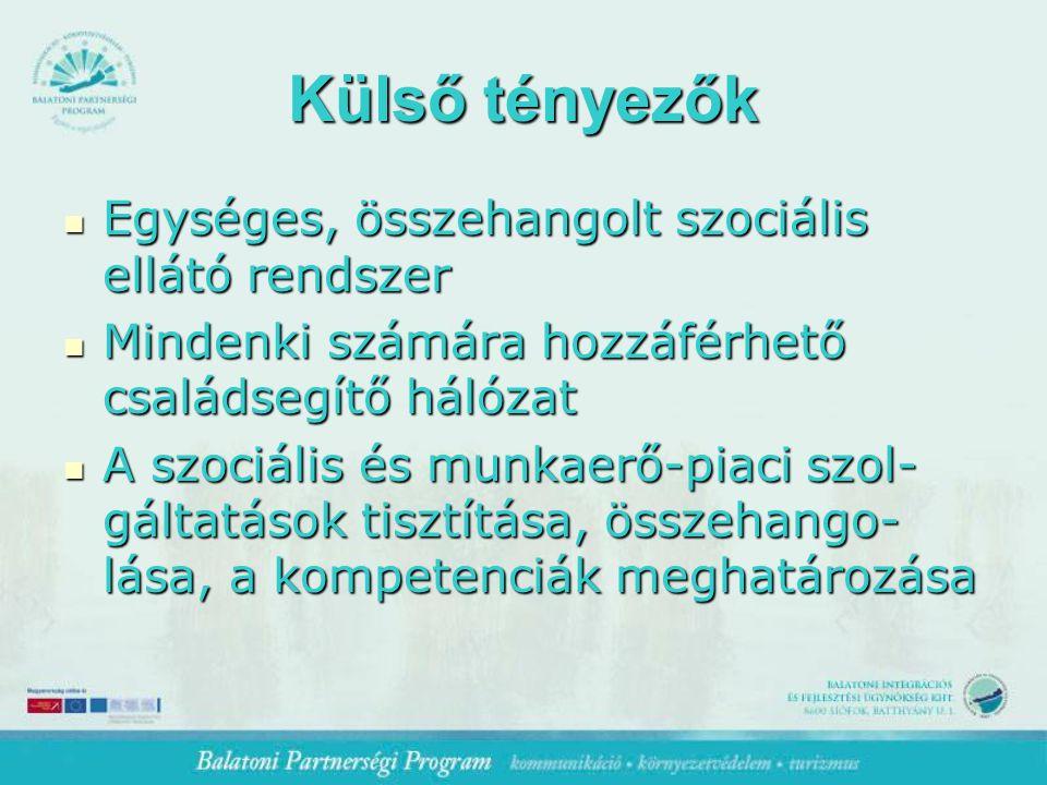 Külső tényezők Egységes, összehangolt szociális ellátó rendszer Egységes, összehangolt szociális ellátó rendszer Mindenki számára hozzáférhető családsegítő hálózat Mindenki számára hozzáférhető családsegítő hálózat A szociális és munkaerő-piaci szol- gáltatások tisztítása, összehango- lása, a kompetenciák meghatározása A szociális és munkaerő-piaci szol- gáltatások tisztítása, összehango- lása, a kompetenciák meghatározása