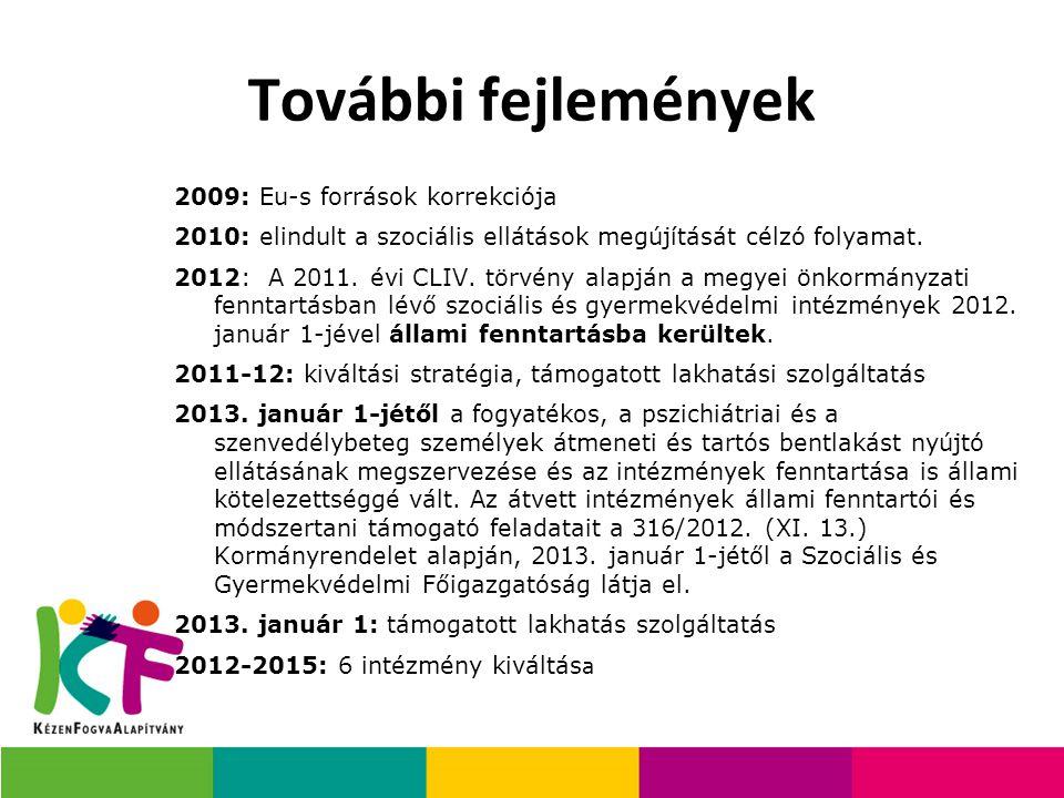 2009: Eu-s források korrekciója 2010: elindult a szociális ellátások megújítását célzó folyamat. 2012: A 2011. évi CLIV. törvény alapján a megyei önko
