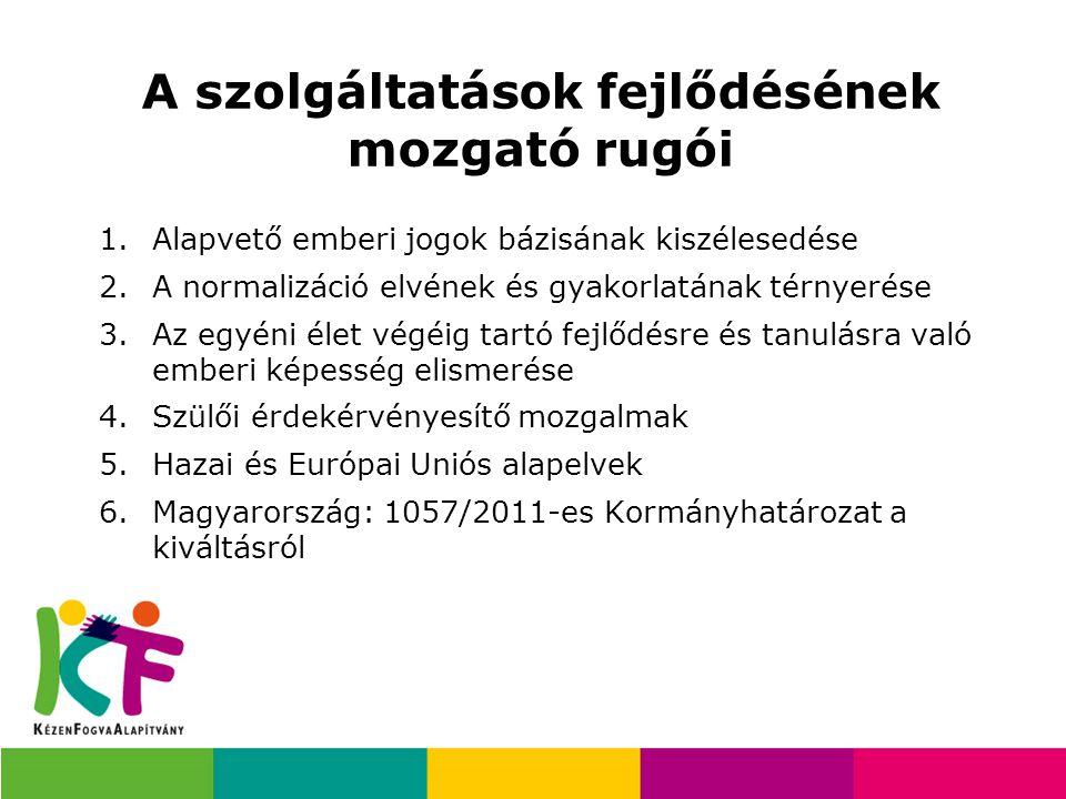 A szolgáltatások fejlődésének mozgató rugói 1.Alapvető emberi jogok bázisának kiszélesedése 2.A normalizáció elvének és gyakorlatának térnyerése 3.Az