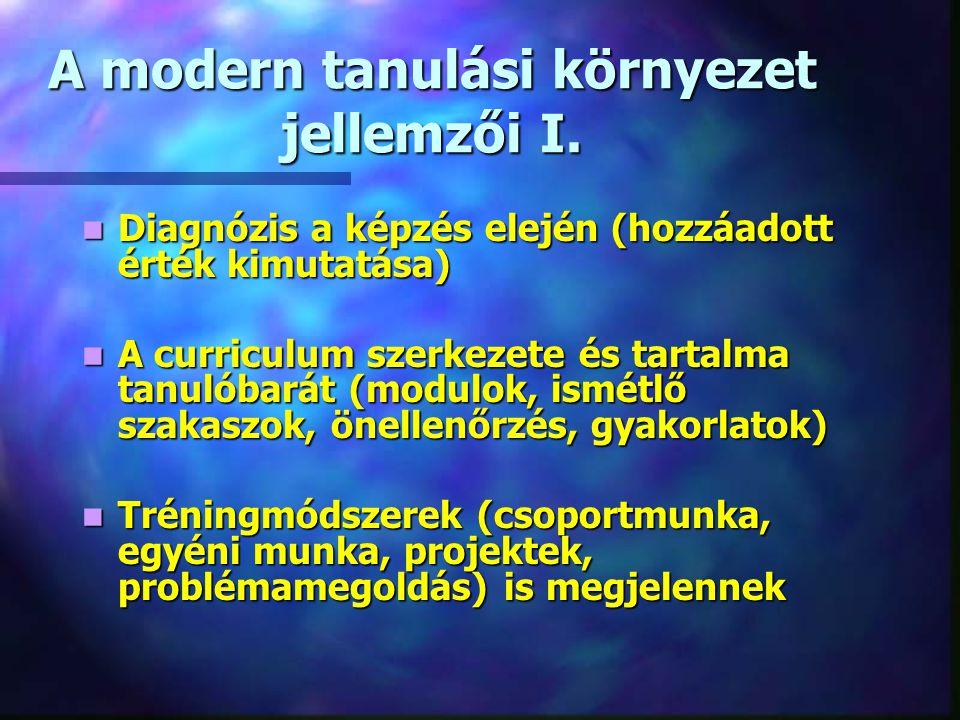 A modern tanulási környezet jellemzői I.