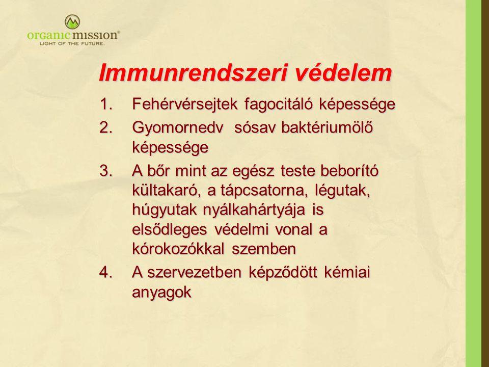 Immunrendszeri védelem 1.Fehérvérsejtek fagocitáló képessége 2.Gyomornedv sósav baktériumölő képessége 3.A bőr mint az egész teste beborító kültakaró, a tápcsatorna, légutak, húgyutak nyálkahártyája is elsődleges védelmi vonal a kórokozókkal szemben 4.A szervezetben képződött kémiai anyagok