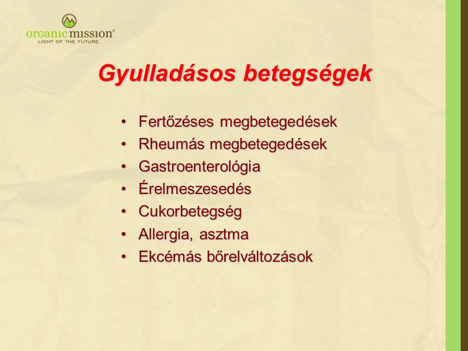Gyulladásos betegségek Fertőzéses megbetegedésekFertőzéses megbetegedések Rheumás megbetegedésekRheumás megbetegedések GastroenterológiaGastroenterológia ÉrelmeszesedésÉrelmeszesedés CukorbetegségCukorbetegség Allergia, asztmaAllergia, asztma Ekcémás bőrelváltozásokEkcémás bőrelváltozások
