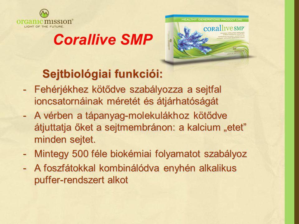 """Corallive SMP Sejtbiológiai funkciói: Sejtbiológiai funkciói: -Fehérjékhez kötődve szabályozza a sejtfal ioncsatornáinak méretét és átjárhatóságát -A vérben a tápanyag-molekulákhoz kötődve átjuttatja őket a sejtmembránon: a kalcium """"etet minden sejtet."""