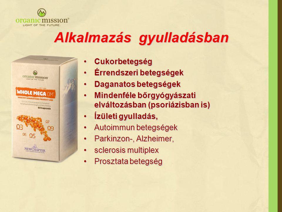Alkalmazás gyulladásban CukorbetegségCukorbetegség Érrendszeri betegségekÉrrendszeri betegségek Daganatos betegségekDaganatos betegségek Mindenféle bőrgyógyászati elváltozásban (psoriázisban is)Mindenféle bőrgyógyászati elváltozásban (psoriázisban is) Ízületi gyulladás,Ízületi gyulladás, Autoimmun betegségekAutoimmun betegségek Parkinzon-, Alzheimer,Parkinzon-, Alzheimer, sclerosis multiplexsclerosis multiplex Prosztata betegségProsztata betegség