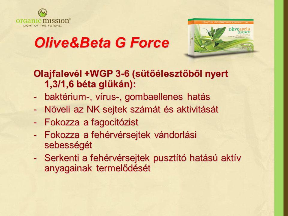 Olive&Beta G Force Olajfalevél +WGP 3-6 (sütőélesztőből nyert 1,3/1,6 béta glükán): - baktérium-, vírus-, gombaellenes hatás -Növeli az NK sejtek számát és aktivitását -Fokozza a fagocitózist -Fokozza a fehérvérsejtek vándorlási sebességét -Serkenti a fehérvérsejtek pusztító hatású aktív anyagainak termelődését