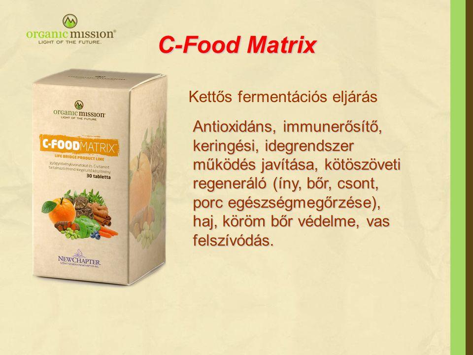 C-Food Matrix Kettős fermentációs eljárás Antioxidáns, immunerősítő, keringési, idegrendszer működés javítása, kötöszöveti regeneráló (íny, bőr, csont, porc egészségmegőrzése), haj, köröm bőr védelme, vas felszívódás.
