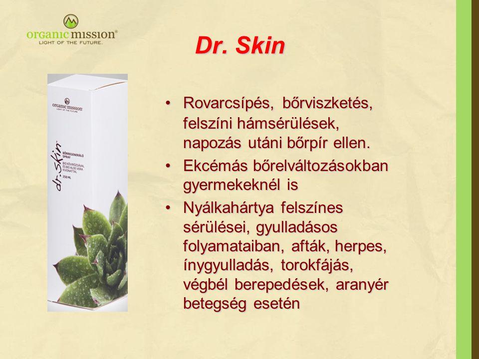 Dr. Skin Rovarcsípés,bőrviszketés, felszíni hámsérülések, napozás utáni bőrpír ellen.Rovarcsípés, bőrviszketés, felszíni hámsérülések, napozás utáni b