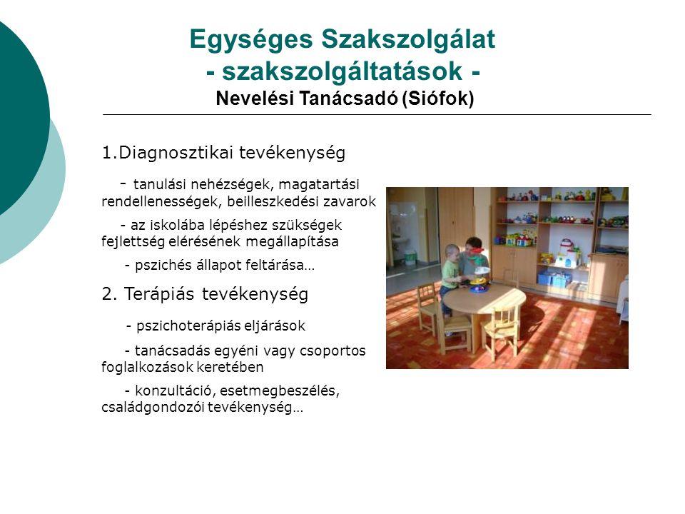 Egységes Szakszolgálat - szakszolgáltatások - Nevelési Tanácsadó (Siófok) 1.Diagnosztikai tevékenység - tanulási nehézségek, magatartási rendellenessé