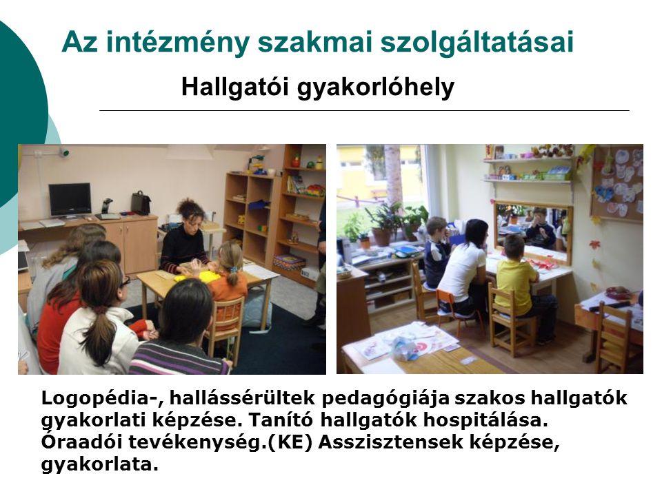 Az intézmény szakmai szolgáltatásai Hallgatói gyakorlóhely Logopédia-, hallássérültek pedagógiája szakos hallgatók gyakorlati képzése. Tanító hallgató