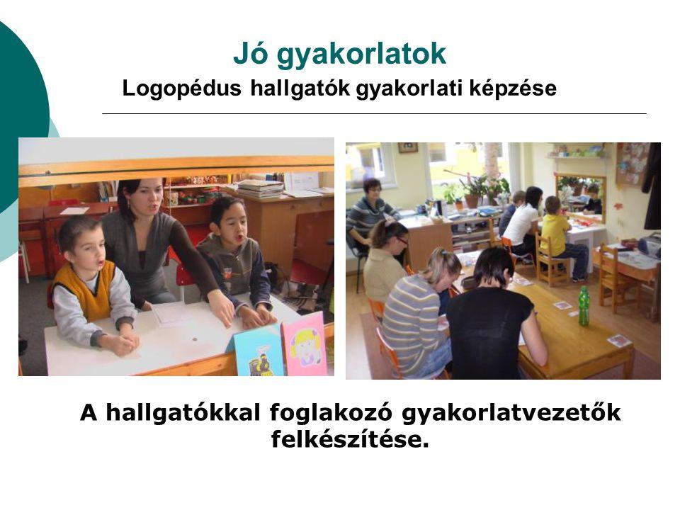 Jó gyakorlatok Logopédus hallgatók gyakorlati képzése A hallgatókkal foglakozó gyakorlatvezetők felkészítése.