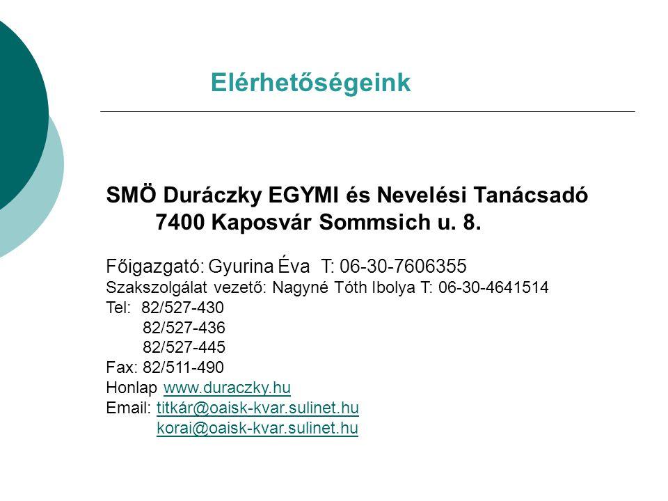 Elérhetőségeink SMÖ Duráczky EGYMI és Nevelési Tanácsadó 7400 Kaposvár Sommsich u. 8. Főigazgató: Gyurina Éva T: 06-30-7606355 Szakszolgálat vezető: N