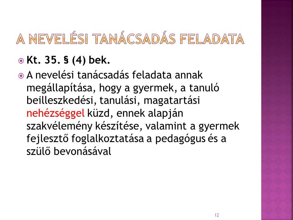  Kt. 35. § (4) bek.  A nevelési tanácsadás feladata annak megállapítása, hogy a gyermek, a tanuló beilleszkedési, tanulási, magatartási nehézséggel