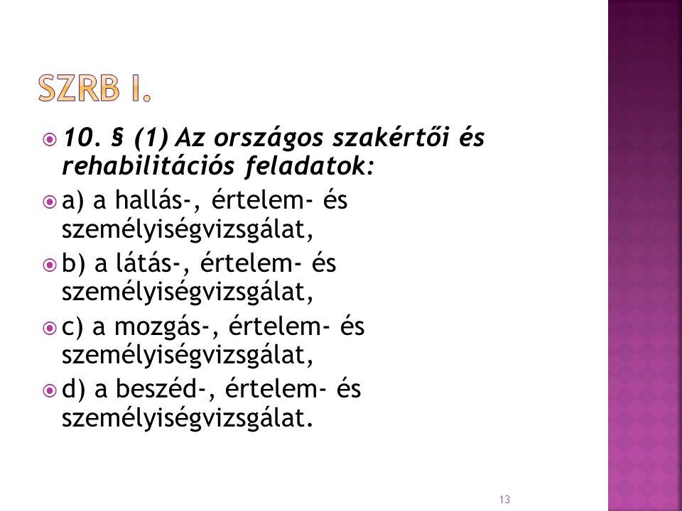  10. § (1) Az országos szakértői és rehabilitációs feladatok:  a) a hallás-, értelem- és személyiségvizsgálat,  b) a látás-, értelem- és személyisé