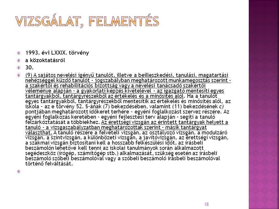  1993. évi LXXIX. törvény  a közoktatásról  30.  (9) A sajátos nevelési igényű tanulót, illetve a beilleszkedési, tanulási, magatartási nehézségge