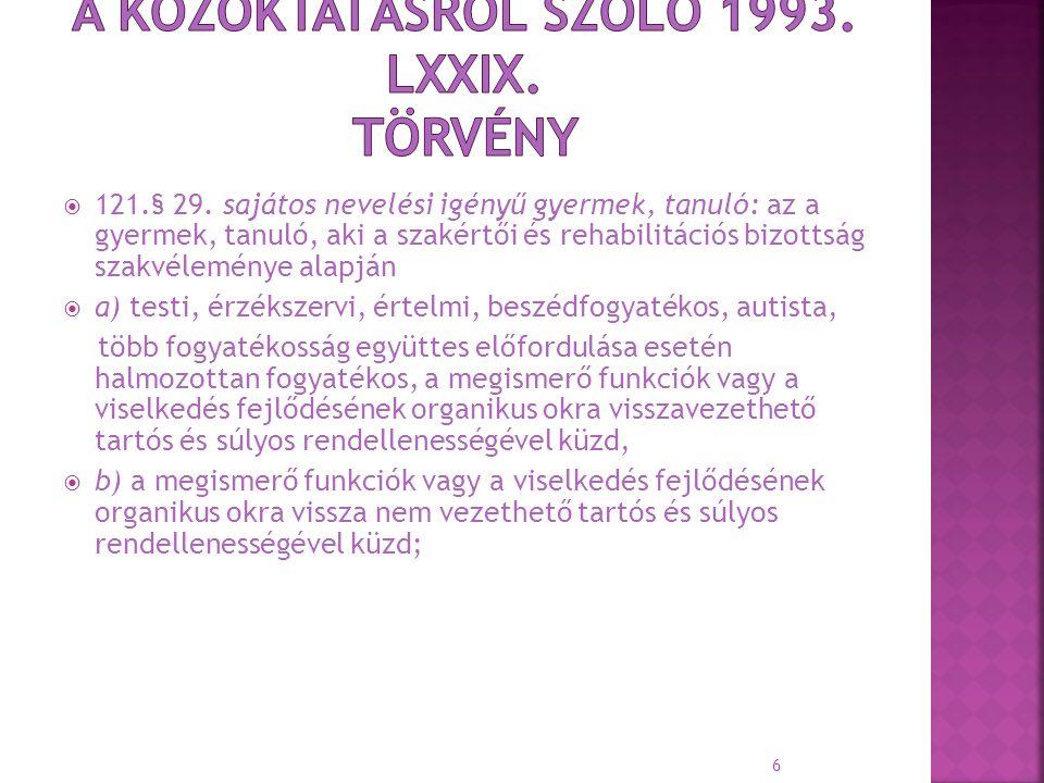  121.§ 29. sajátos nevelési igényű gyermek, tanuló: az a gyermek, tanuló, aki a szakértői és rehabilitációs bizottság szakvéleménye alapján  a) test