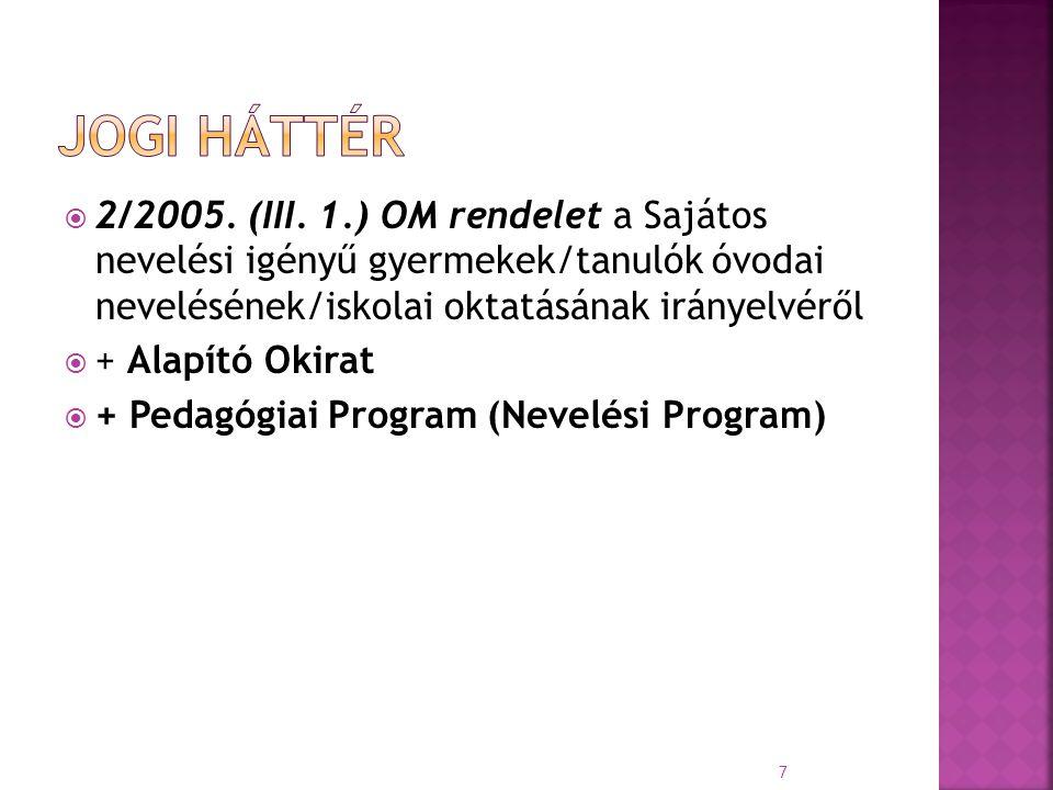  2/2005. (III. 1.) OM rendelet a Sajátos nevelési igényű gyermekek/tanulók óvodai nevelésének/iskolai oktatásának irányelvéről  + Alapító Okirat  +