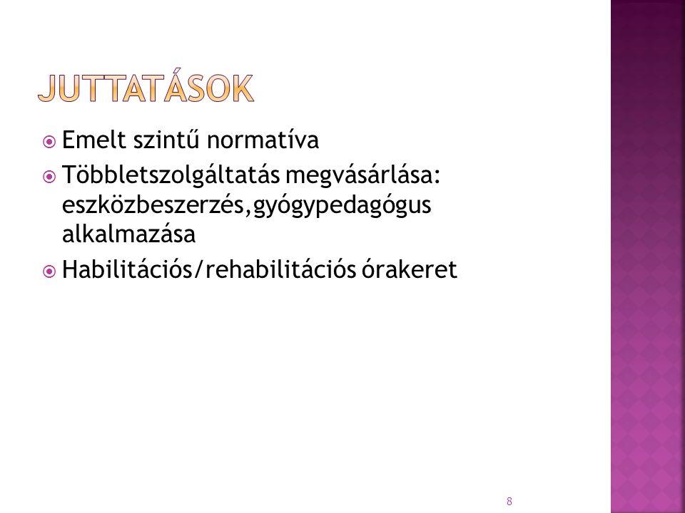  Emelt szintű normatíva  Többletszolgáltatás megvásárlása: eszközbeszerzés,gyógypedagógus alkalmazása  Habilitációs/rehabilitációs órakeret 8