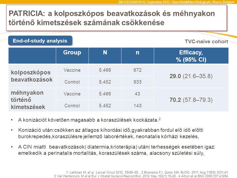 BIO/CER/0003f/12, September 2012, GlaxoSmithKline Biologicals, Wavre, Belgium PATRICIA: a kolposzkópos beavatkozások és méhnyakon történő kimetszések számának csökkenése 1.