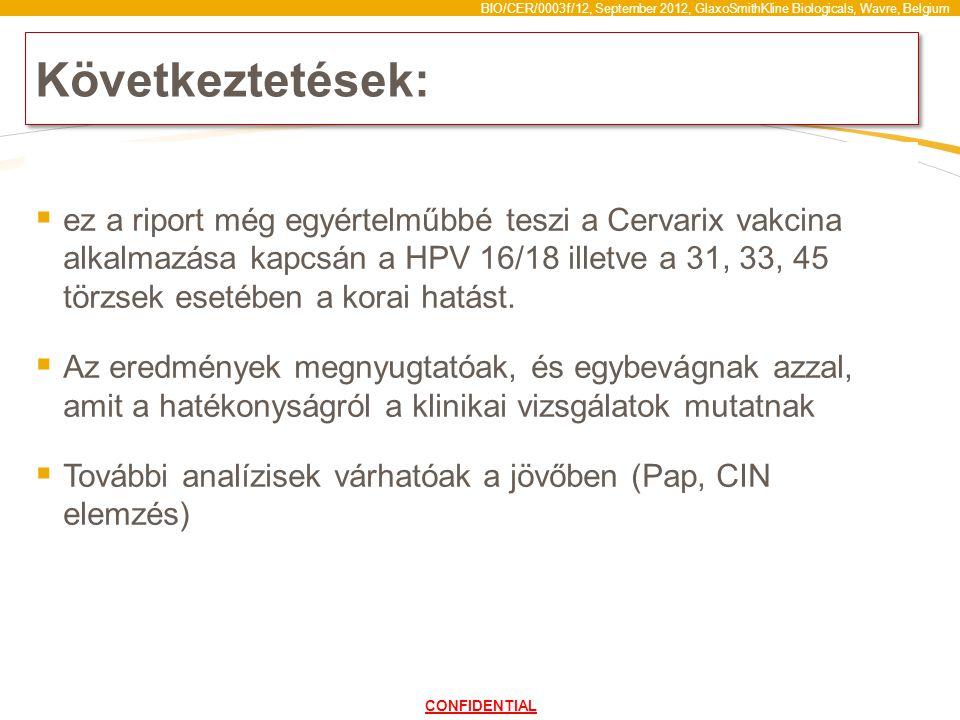 BIO/CER/0003f/12, September 2012, GlaxoSmithKline Biologicals, Wavre, Belgium Következtetések:  ez a riport még egyértelműbbé teszi a Cervarix vakcina alkalmazása kapcsán a HPV 16/18 illetve a 31, 33, 45 törzsek esetében a korai hatást.