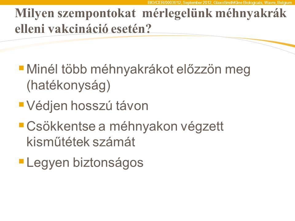 BIO/CER/0003f/12, September 2012, GlaxoSmithKline Biologicals, Wavre, Belgium Milyen szempontokat mérlegelünk méhnyakrák elleni vakcináció esetén?  M