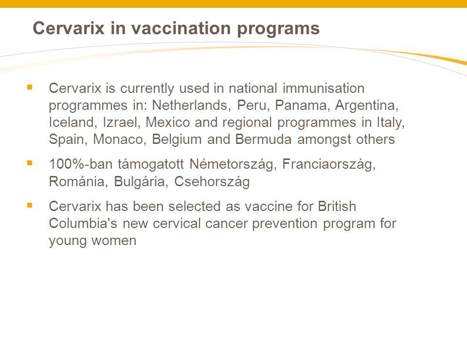 Cervarix in vaccination programs  Cervarix is currently used in national immunisation programmes in: Netherlands, Peru, Panama, Argentina, Iceland, I