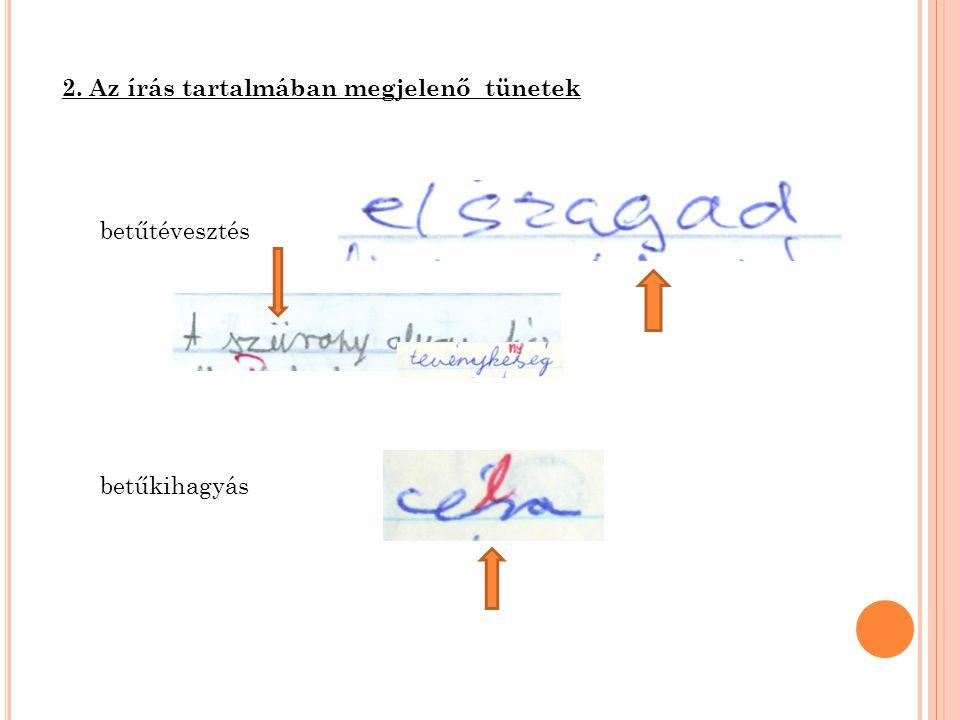 2. Az írás tartalmában megjelenő tünetek betűtévesztés betűkihagyás