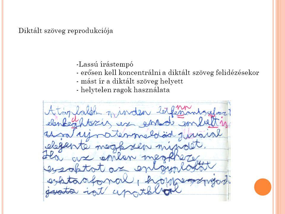 Diktált szöveg reprodukciója -Lassú írástempó - erősen kell koncentrálni a diktált szöveg felidézésekor - mást ír a diktált szöveg helyett - helytelen