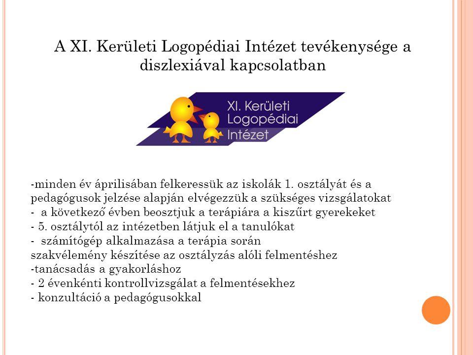 A XI. Kerületi Logopédiai Intézet tevékenysége a diszlexiával kapcsolatban -minden év áprilisában felkeressük az iskolák 1. osztályát és a pedagógusok