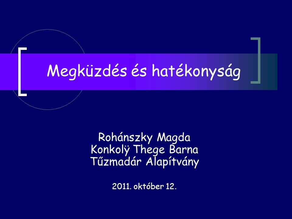Megküzdés és hatékonyság Rohánszky Magda Konkolÿ Thege Barna Tűzmadár Alapítvány 2011. október 12.