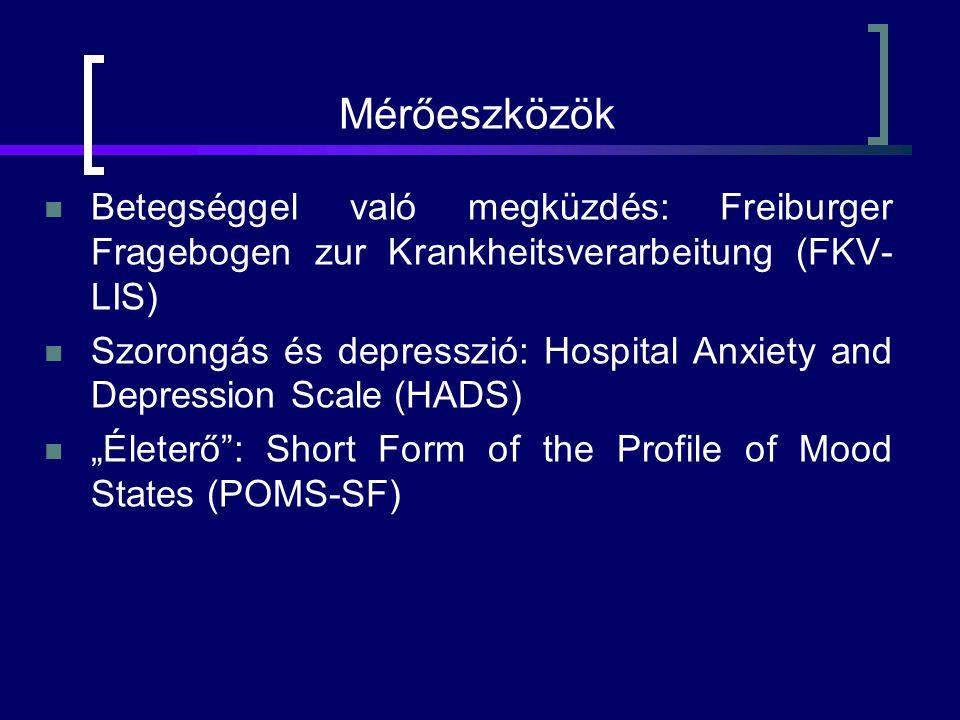 """Mérőeszközök Betegséggel való megküzdés: Freiburger Fragebogen zur Krankheitsverarbeitung (FKV- LIS) Szorongás és depresszió: Hospital Anxiety and Depression Scale (HADS) """"Életerő : Short Form of the Profile of Mood States (POMS-SF)"""