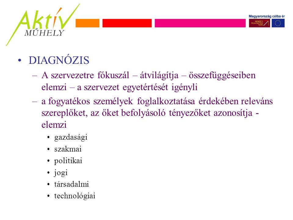 DIAGNÓZIS –A szervezetre fókuszál – átvilágítja – összefüggéseiben elemzi – a szervezet egyetértését igényli –a fogyatékos személyek foglalkoztatása érdekében releváns szereplőket, az őket befolyásoló tényezőket azonosítja - elemzi gazdasági szakmai politikai jogi társadalmi technológiai