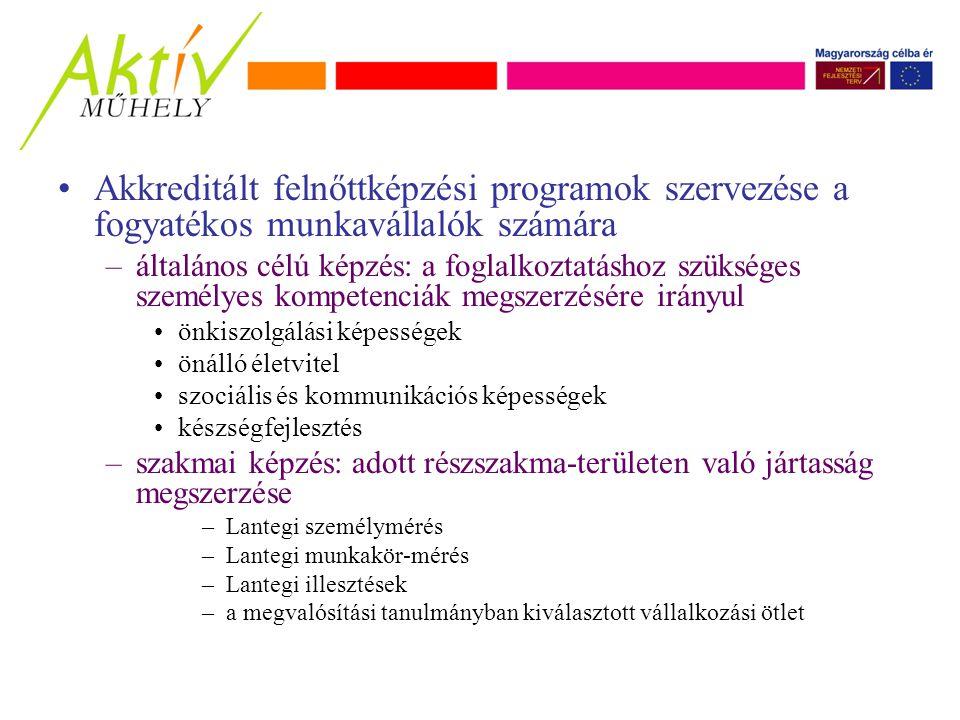 Akkreditált felnőttképzési programok szervezése a fogyatékos munkavállalók számára –általános célú képzés: a foglalkoztatáshoz szükséges személyes kompetenciák megszerzésére irányul önkiszolgálási képességek önálló életvitel szociális és kommunikációs képességek készségfejlesztés –szakmai képzés: adott részszakma-területen való jártasság megszerzése –Lantegi személymérés –Lantegi munkakör-mérés –Lantegi illesztések –a megvalósítási tanulmányban kiválasztott vállalkozási ötlet
