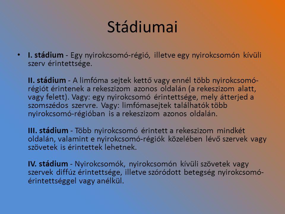 Stádiumai I. stádium - Egy nyirokcsomó-régió, illetve egy nyirokcsomón kívüli szerv érintettsége. II. stádium - A limfóma sejtek kettő vagy ennél több