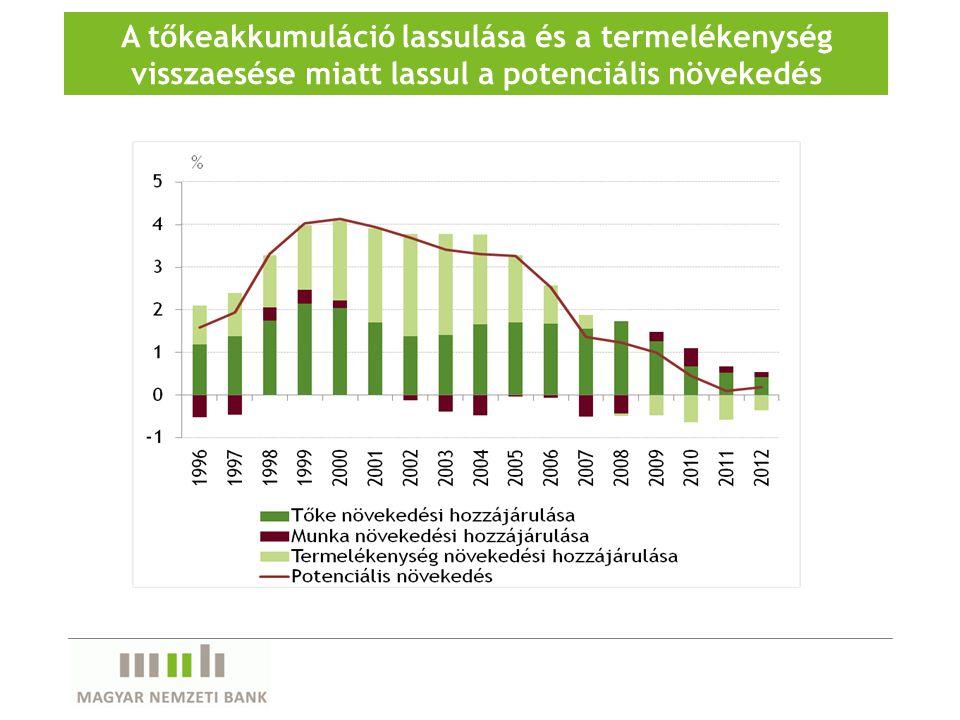 A tőkeakkumuláció lassulása és a termelékenység visszaesése miatt lassul a potenciális növekedés