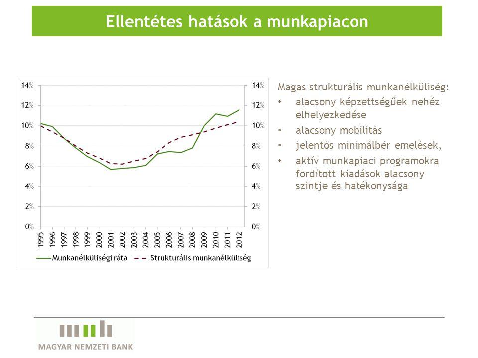 Magas strukturális munkanélküliség: alacsony képzettségűek nehéz elhelyezkedése alacsony mobilitás jelentős minimálbér emelések, aktív munkapiaci programokra fordított kiadások alacsony szintje és hatékonysága Ellentétes hatások a munkapiacon