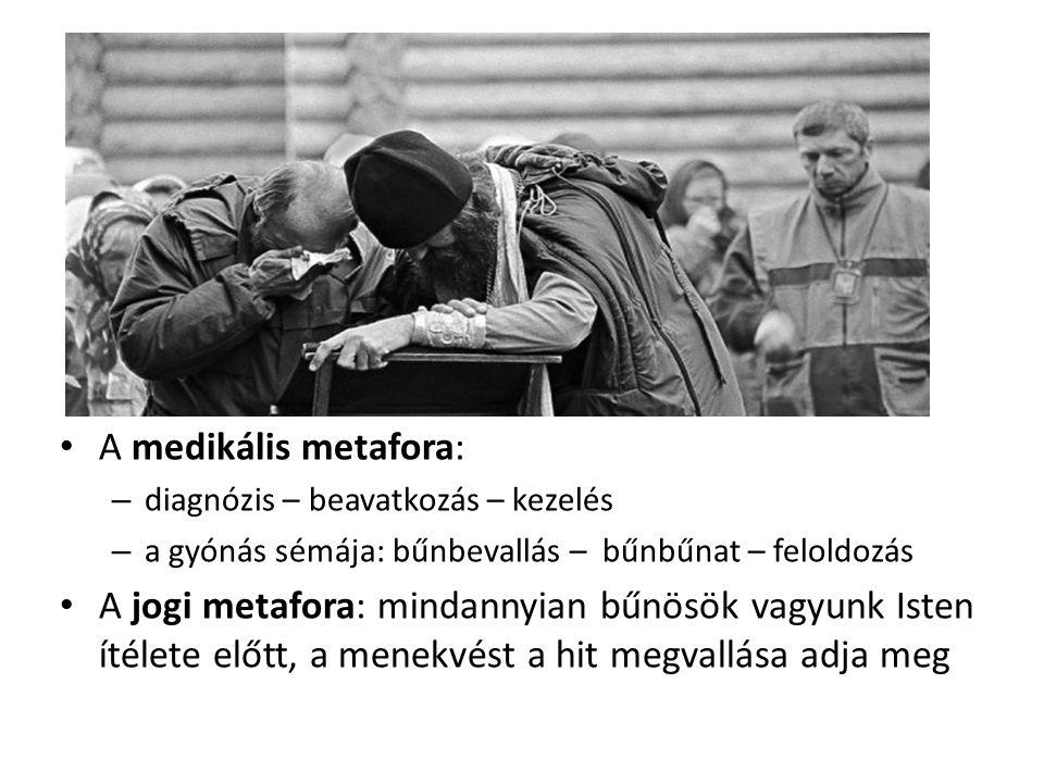 A medikális metafora: – diagnózis – beavatkozás – kezelés – a gyónás sémája: bűnbevallás – bűnbűnat – feloldozás A jogi metafora: mindannyian bűnösök